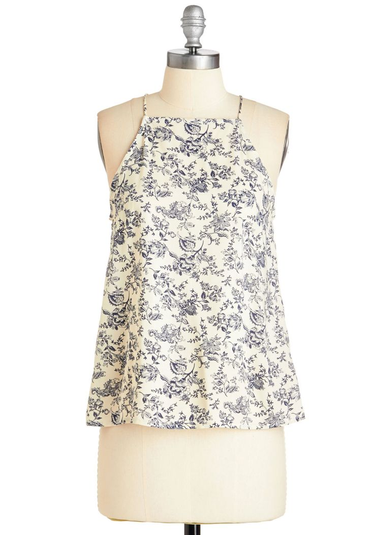 In the Here and Wow Top in Delft | Mod Retro Vintage Short Sleeve Shirts | ModCloth.com