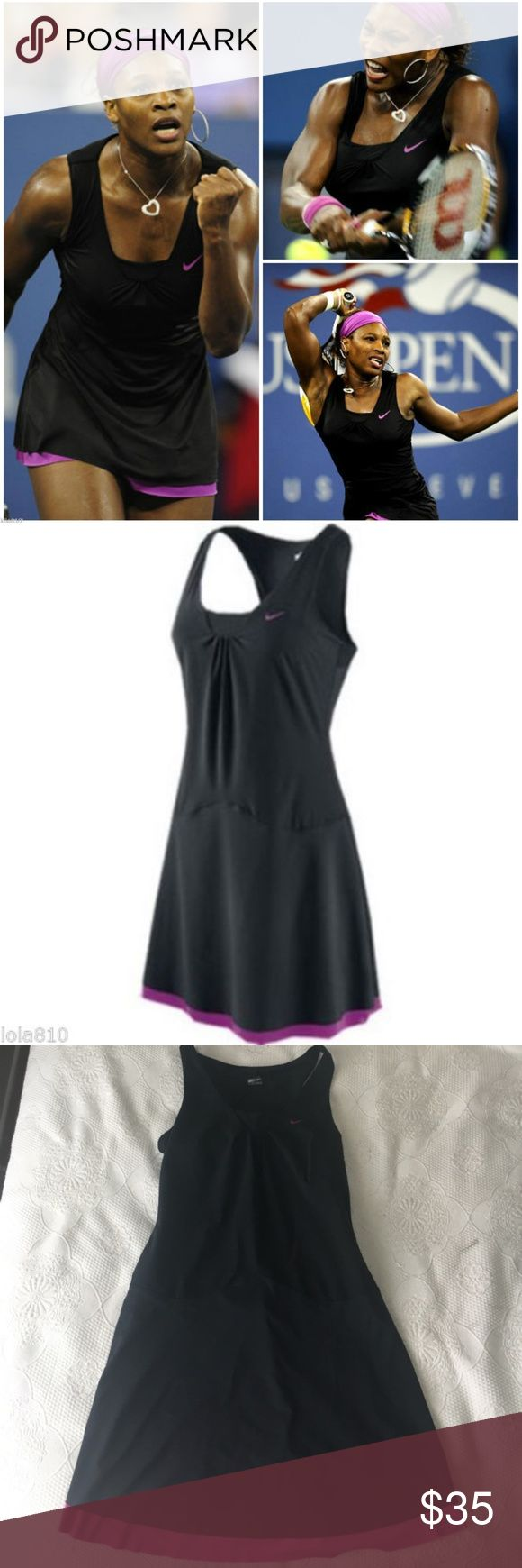 NIKE TENNIS Dress Serena Sphere React - Medium Look good on the court EUC NIKE TENNIS Dress Serena Williams Sphere React Cool Sri-fit Black Magenta - Sz Medium  Black with pink trim and underskirt. (Does not come with tennis shorts) Dri-Fit material with build in bra.  Body is 86% polyester and 14% spandex Nike Dresses