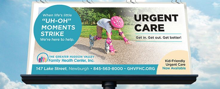 """The """"life's little moments"""" campaign provided the flexibility needed to promote various locations, target niche markets, and advertise the full scope of services available at the Health Center. With a slight headline re-wording to """"life's little 'uh-oh' moments"""" the Urgent Care and Pediatric Urgent Care campaigns took flight. www.bbggadv.com"""