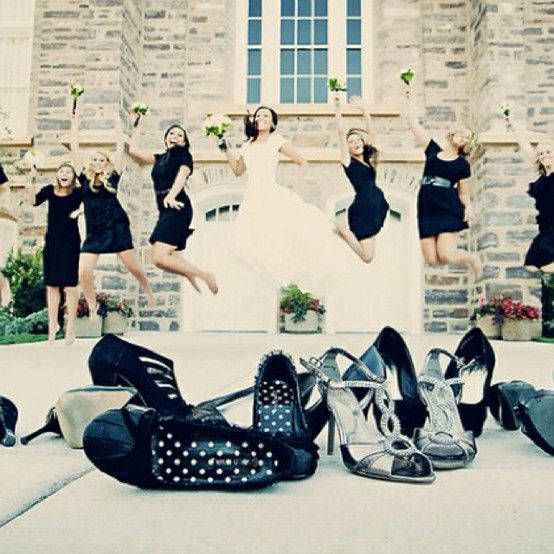 Bridal party photograph, love the jumping!
