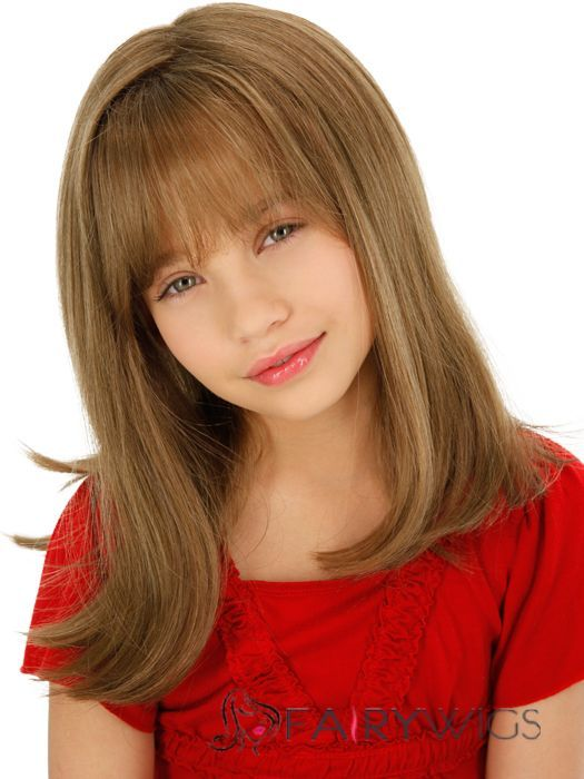 Cheap Colored Medium Gray 100% Indian Remy Hair Kids Wigs 16 Inch