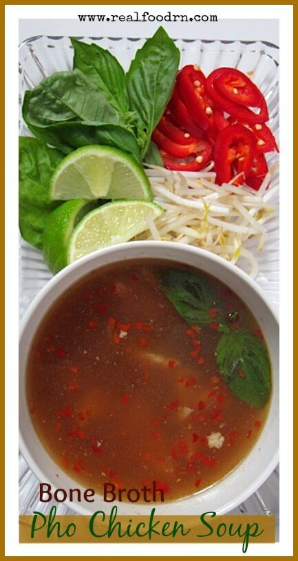 Bone Broth Pho Chicken Soup | Use zuchinni noodles instead of kelp noodles