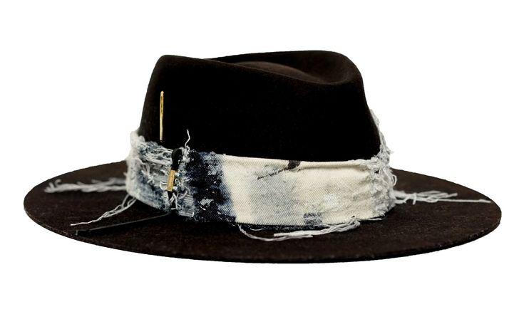 Distressed Denim Hat by Rudolf Nabu