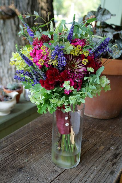zinnia bouquets | August bridal bouquet: zinnia, scented geranium, flowering oregano ...