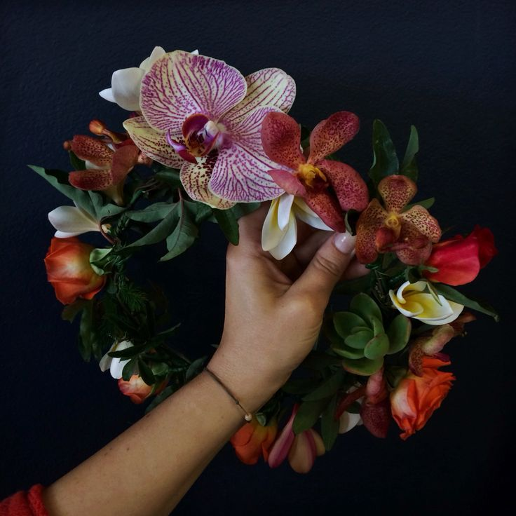 Tropically inspired flower crown - orchids, passionfruit vine, succulents, frangipani & roses.