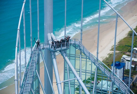People enjoying Skypoint Climb, Surfers Paradise, on the Gold Coast