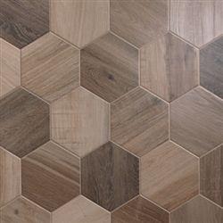 Porcelain Hexagon   8 inch, Wood Look Tile     Nut