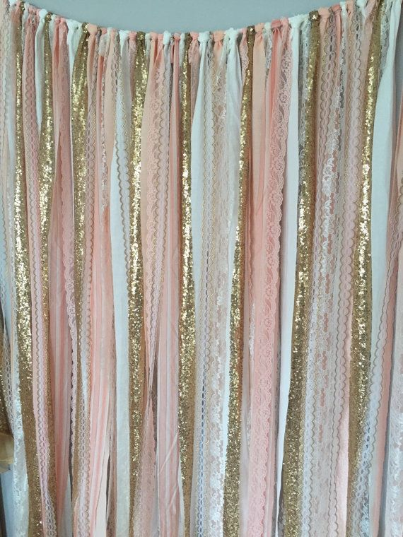 Peach, Pink & Gold Sparkle Sequin Fabric Backdrop with Lace - Wedding Garland, Photo Prop, Curtain, Baby Shower, Crib Garland