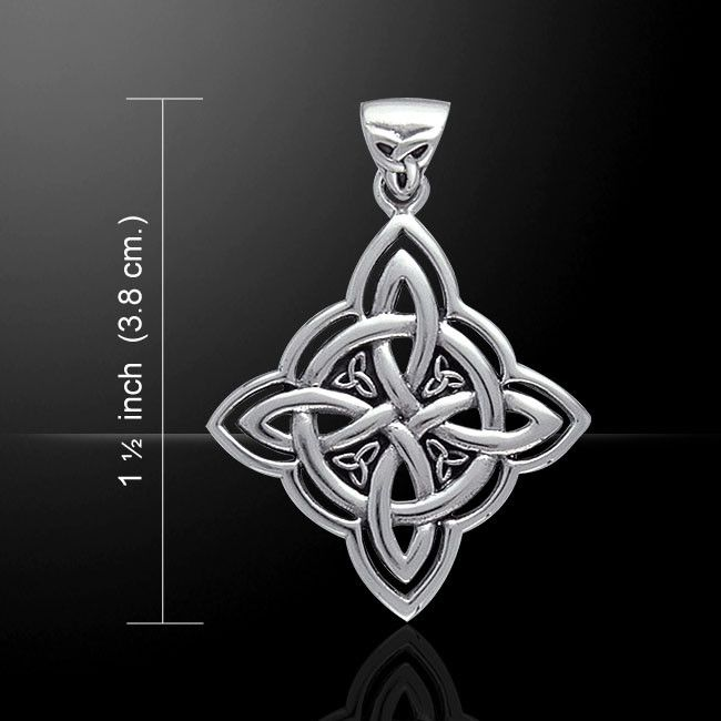 Celtic WITCHES Knot Pendant in .925 Sterling Silver - Quaternary Knot with Triquetra Trinity knot