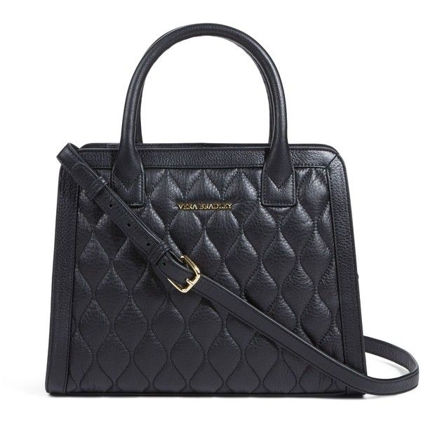 Vera Bradley Quilted Natalie Satchel in Black (1.010 BRL) ❤ liked on Polyvore featuring bags, handbags, black, bolsas, purses, new arrivals, leather satchel, vera bradley purses, black leather handbags and black quilted handbag