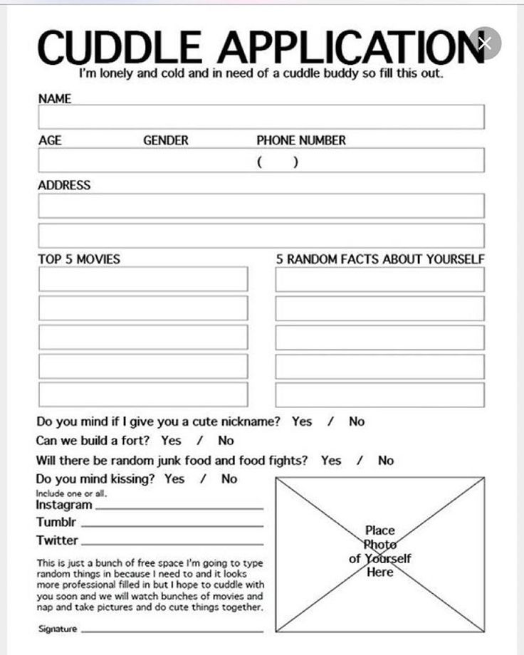 Best Forms Images On   Application Form Cuddle Buddy