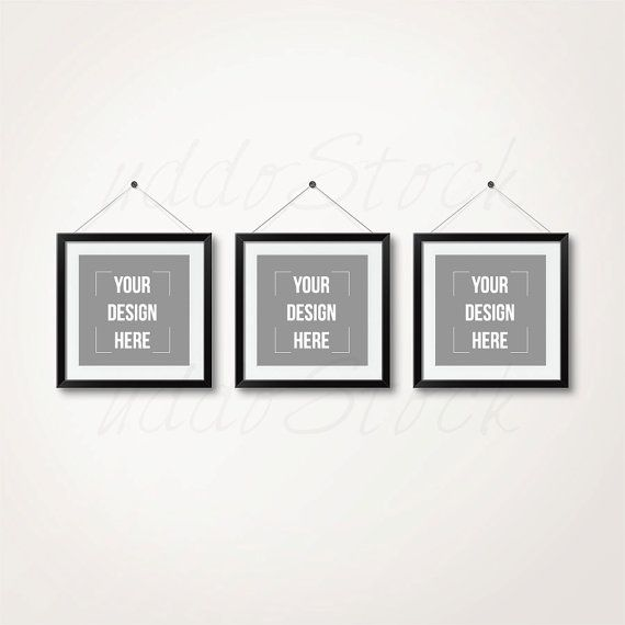 Linear set of 3 black square frames for wall art by uddostock
