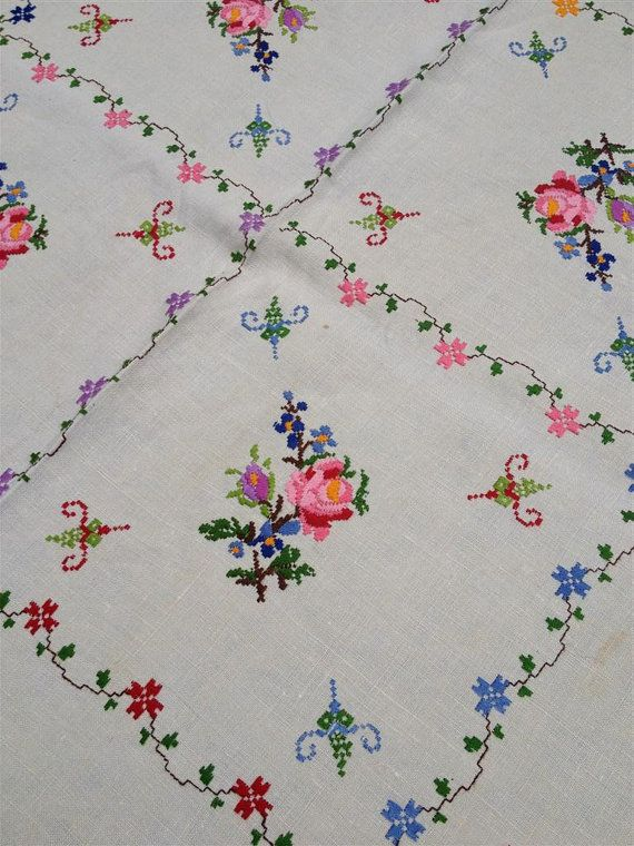 Vintage Floral Embroidery Linen Tablecloth by MonkeyGrassDesigns