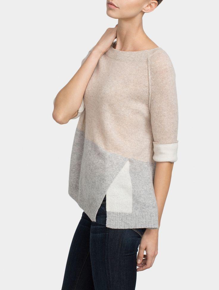 Cashmere Color Spliced Crewneck - Sale - WOMEN