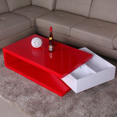 Fox Hill Trading Glossy Functional Coffee Table With Storage Color: Red /  White | Products | Pinterest | Foxes, Coffee And Products