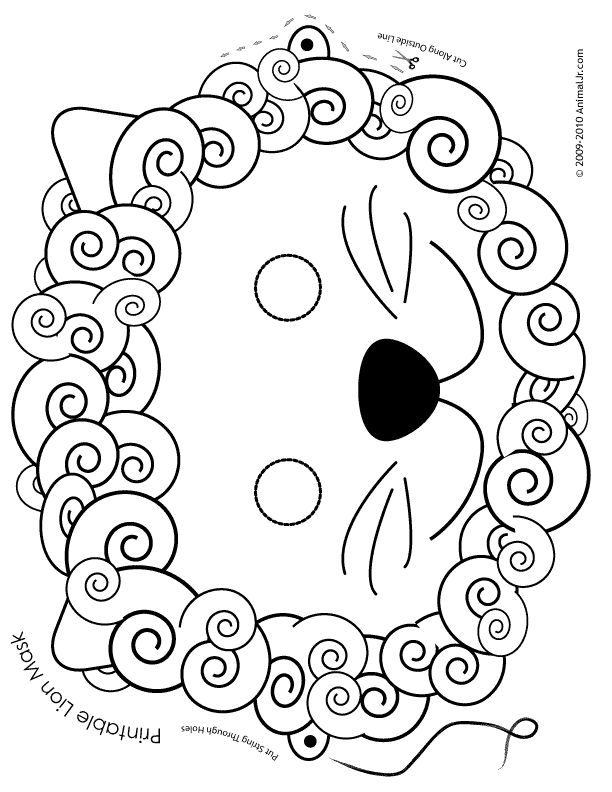 Printable Lion Mask Coloring Page Seniors and Babies! Printable