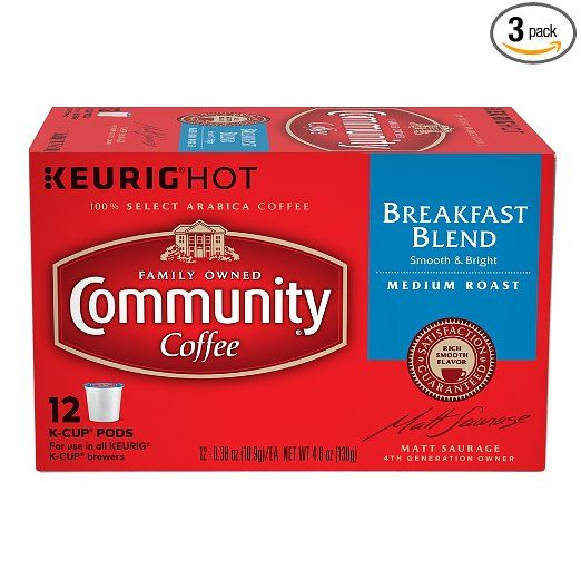Community Coffee Single-Serve Cups, Breakfast Blend, 12 Count (Pack of 3)