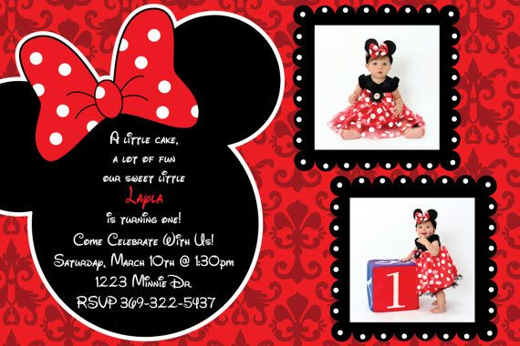 Minnie Mouse Damask Background Birthday Party Invitations