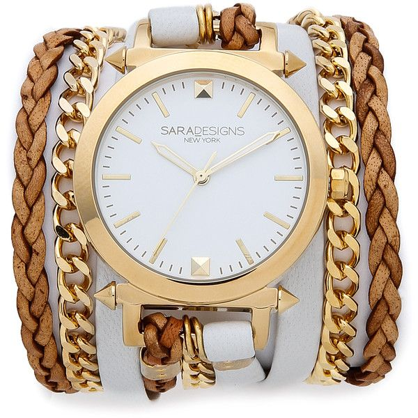 Sara Designs Leather & Chain Wrap Watch ($220) ❤ liked on Polyvore