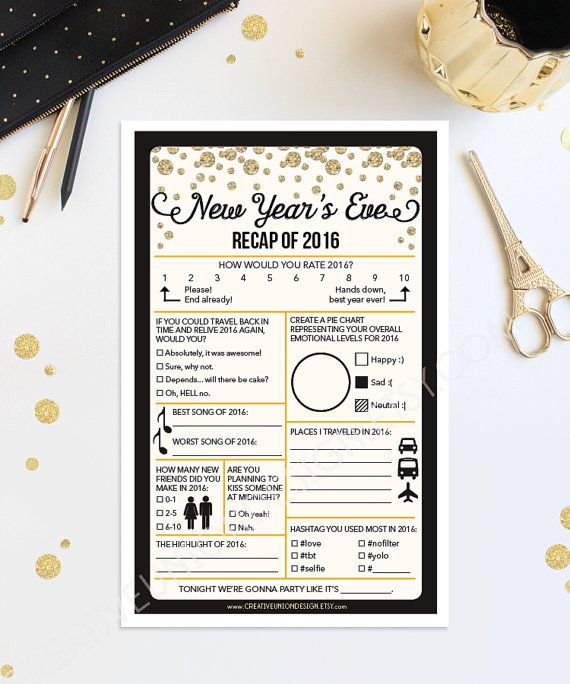 New Years Eve Game New Year's Eve Wedding by CreativeUnionDesign