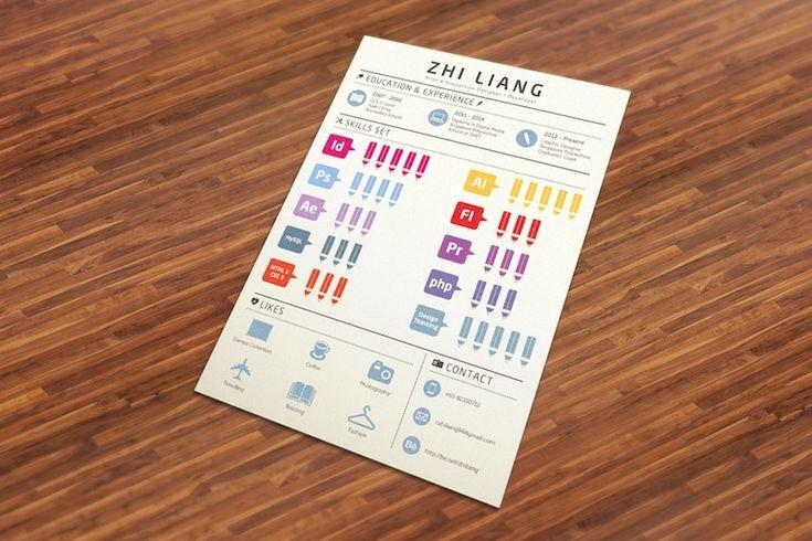 Een opvallend CV in infographic stijl op bureau