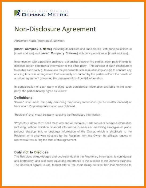 Non Disclosure Agreement Form Template Non Disclosure