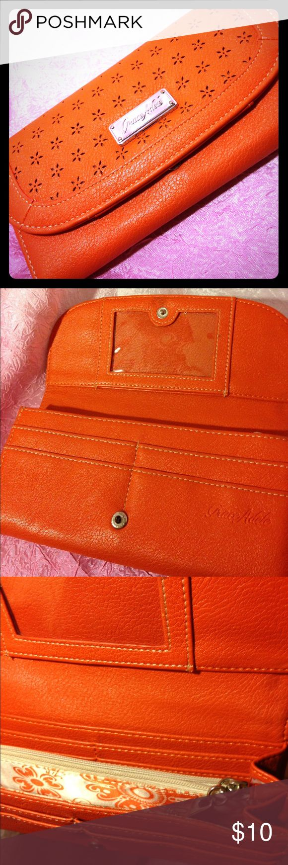 Grace Adele Wallet Tangerine colored Grace Adele full sized new wallet in excellent condition! grace adele Bags Wallets