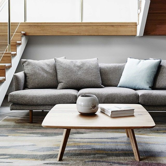 """""""Our Nook sofa, Quincy table and Stitch cushion nestle in a quiet corner in-store #jardanfurniture #australianmade #madeforlife photographed by @jamesgeer"""""""