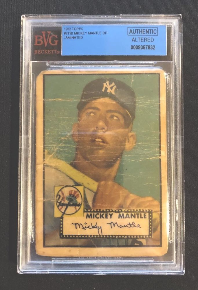 1952 Topps Mickey Mantle Rookie Card 311 Bvg Authentic Altered New York Mickey Mantle Mantle Mickey