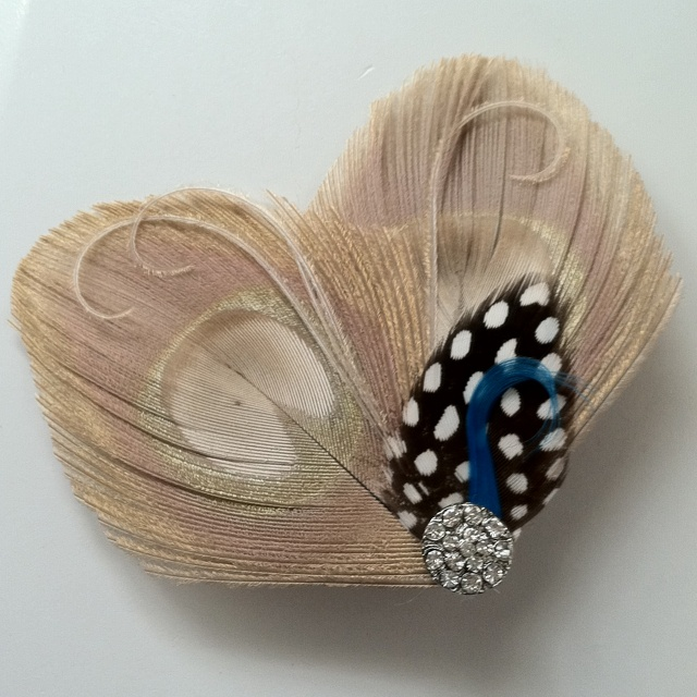 Custom Made Crystal, Guinea & Peacock Feather Hairclip by the Headband Shoppe on etsy
