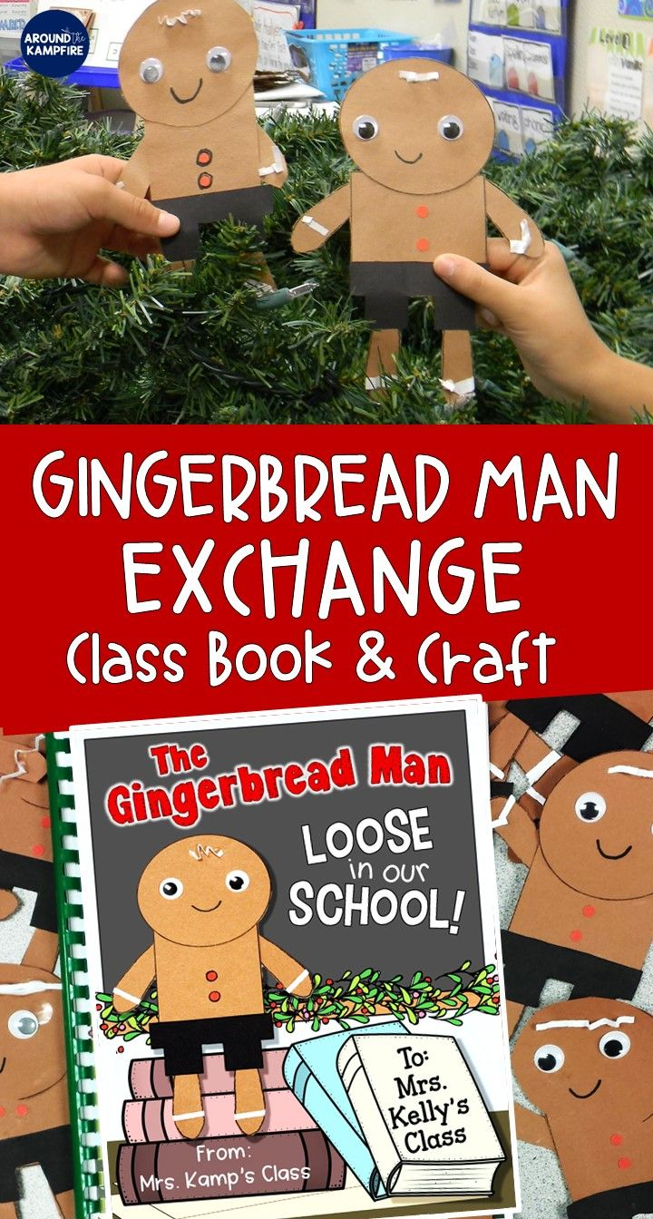 Delight your Kindergarten, first or second graders with this creative The Gingerbread Man Loose in Our School class book and easy craft. The customizable book and adorable gingerbread man craft are ideal to add to your classroom Christmas activities. A perfect surprise to send to your gingerbread man exchange buddies and make one for your own class too!