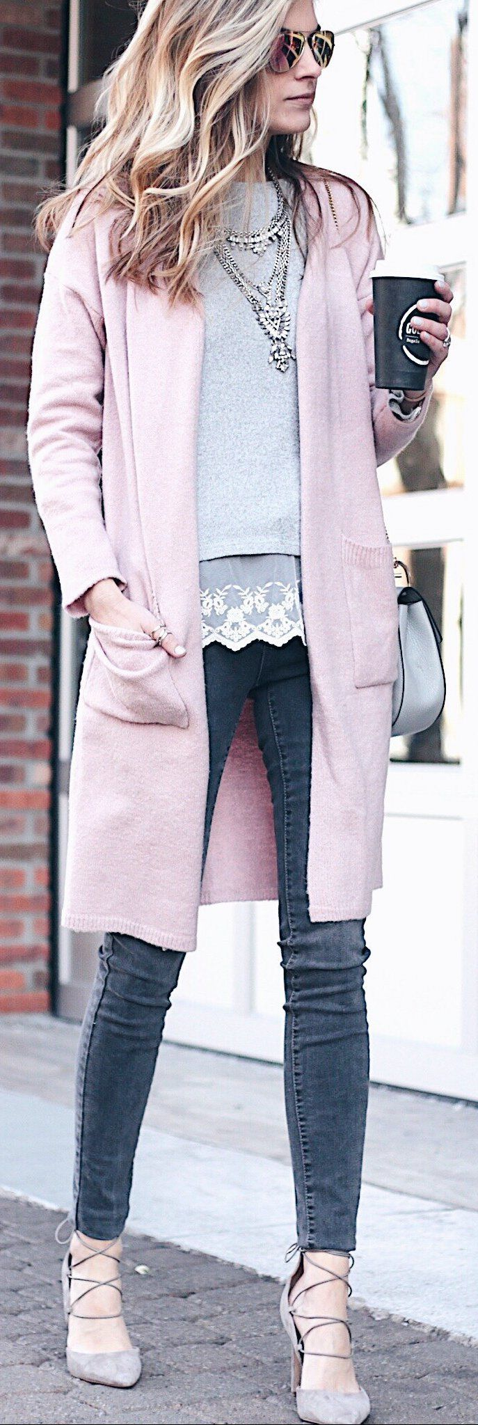 #winter #fashion /  Pink Coat / Dark Skinny Jeans / Grey Laced Up Pumps / Necklace