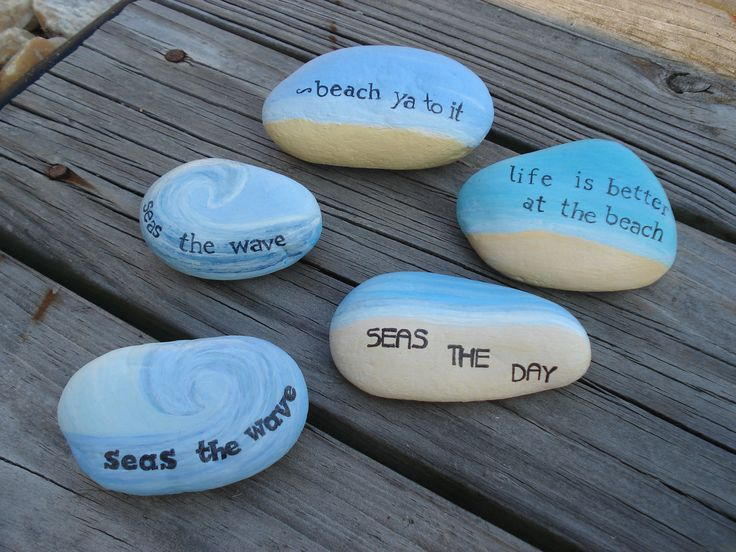 Beach sayings painted on beach rocks.