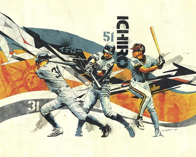 An Artistic Look at Major League Baseball - Ichiro Suzuki - Photo: Art by Dragon76