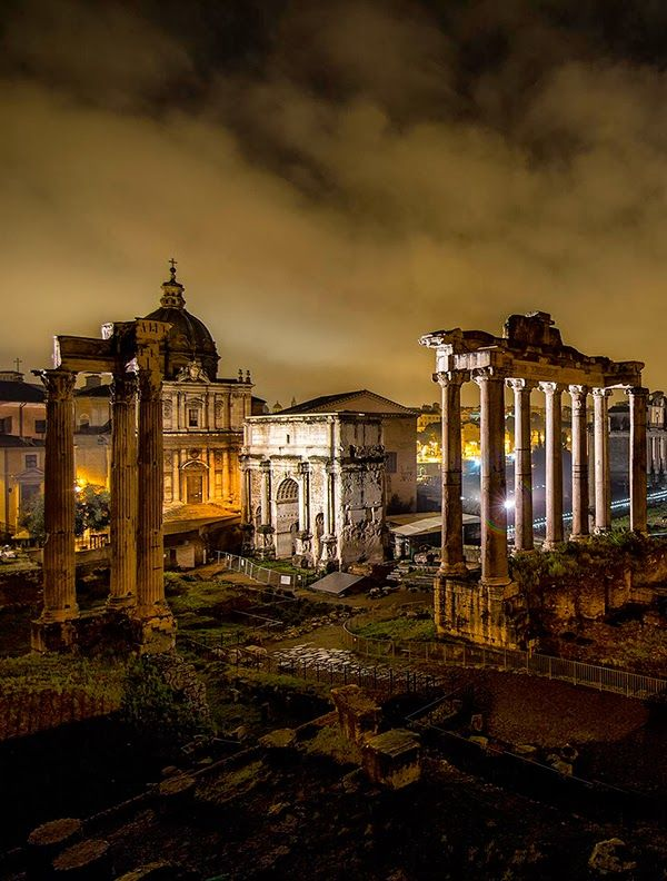 Ruins of The Forum at Night, Rome