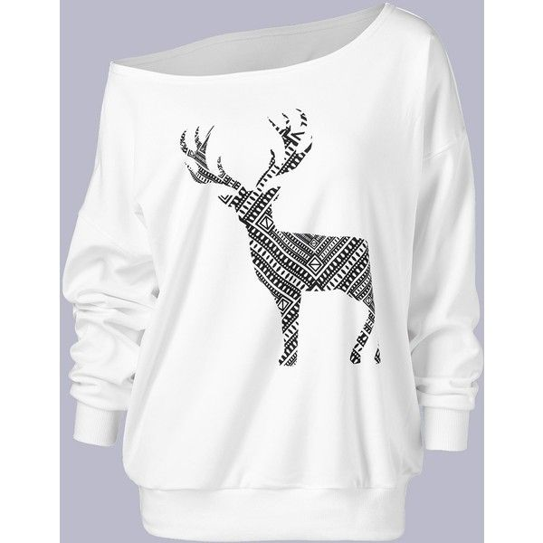 Plus Size Fawn Print Skew Collar Sweatshirt ($15) ❤ liked on Polyvore featurin... 9