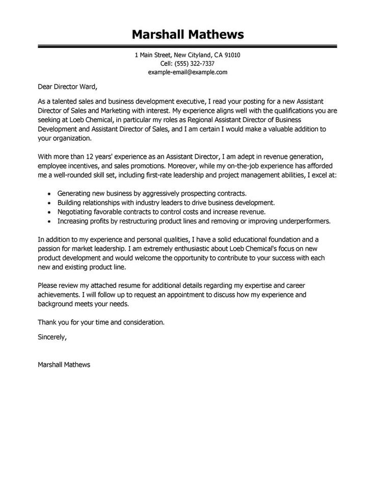 assistant director cover letter examples management medical - director of sales resume