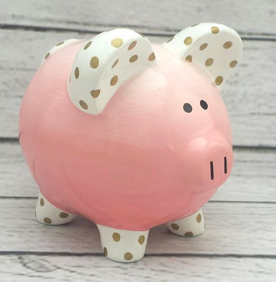 Personalizada Piggy bank Coral y oro Ombré ombre lunares y