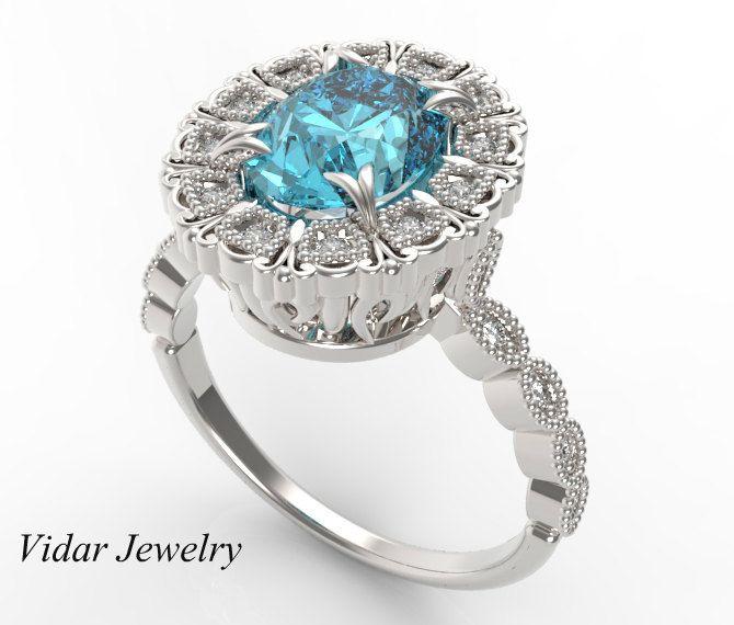 aquamarine engagement ring unique filigree diamonds ring