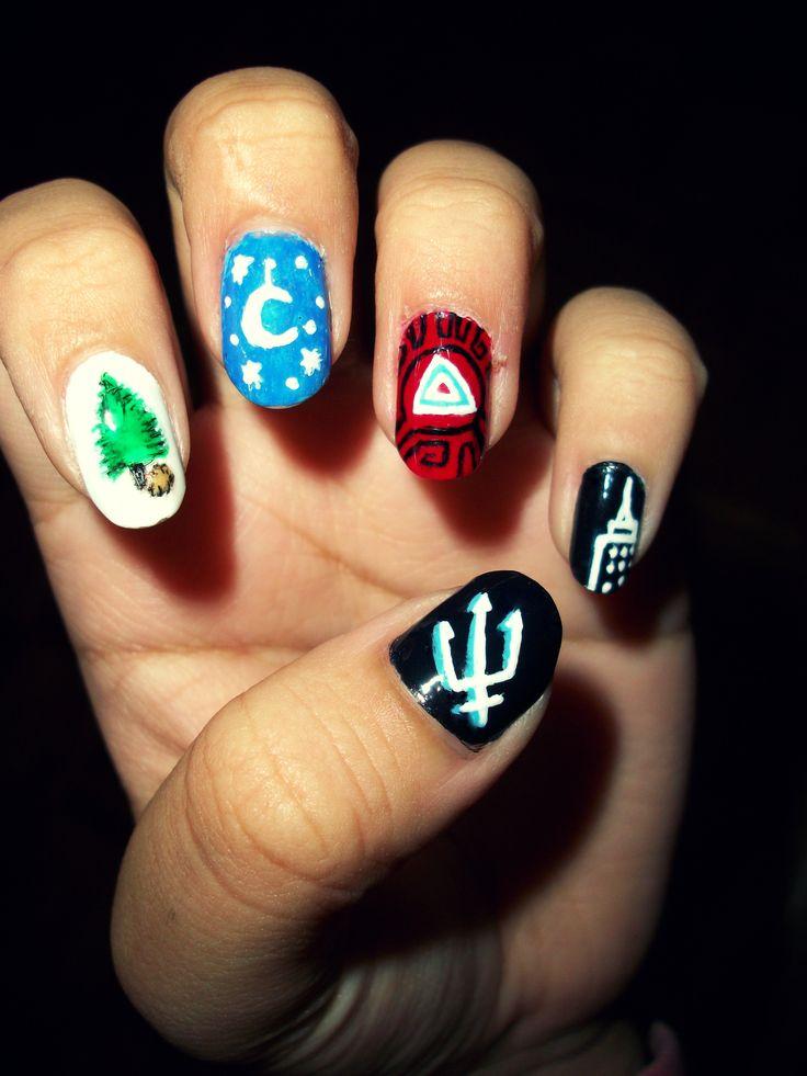 Percy jackson inspired nail art.