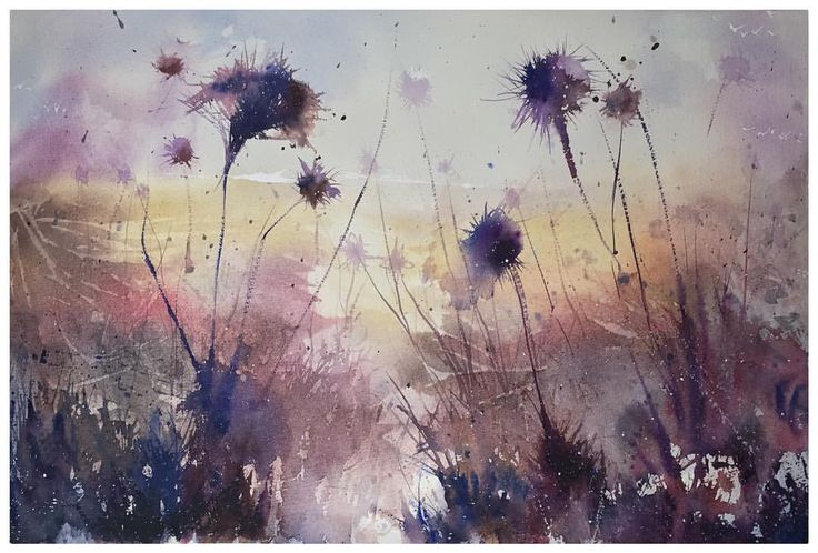 Dreamy morning #instagood #waterblog #aquarelle #watercolor #painting #art #artwork #instagood #artist #watercolorart #watercolourart #style #artoftheday #inspiring_watercolors #scene #watercolourpainting #watercolour #painting #artist_4_shoutout #artdesires #abstract #flowers #thistle #sketch #color #colour #purple #sunrise #instaartist
