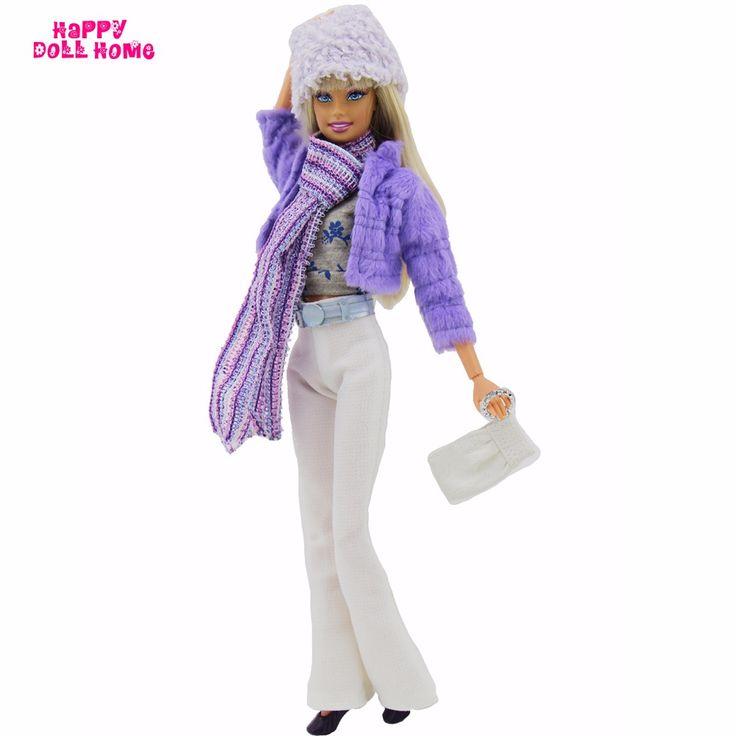 8in1 Зимней Моды Снаряжение Пальто Куртки Жилет Крышка Белые Брюки черный Ремень Обуви Аксессуары Для Barbie ПТ Куклы Игрушки подарок купить на AliExpress