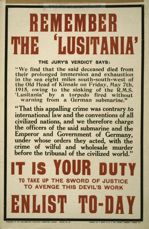 sinking of the lusitania articles