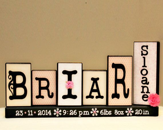 Baby Blocks - Wooden Name Blocks - Birth Announcement - Baby Keepsake - Unique Baby Shower Gift - 5 Letters First and Middle Name Sign