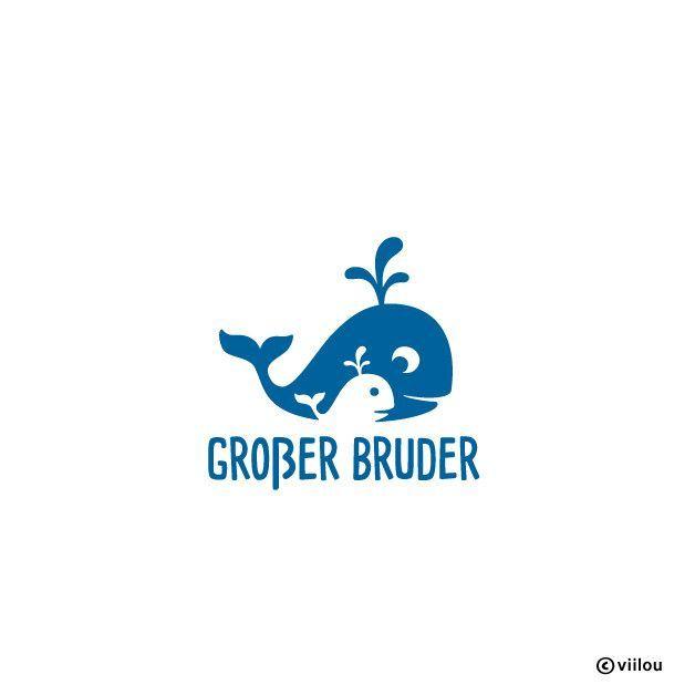 **GESCHWISTER MOTIV: GROßER BRUDER WAL** Applikation / Bügelbild aus Velours Der Text GROßER BRUDER kann auf Wunsch auch in KLEINER BRUDER oder SCHWESTER geändert werden. Die viilou-Aufbügler...