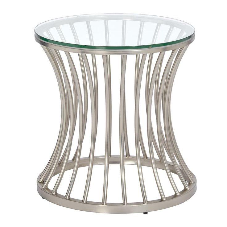 Madison Park Clarita Glass Top End Table, Silver