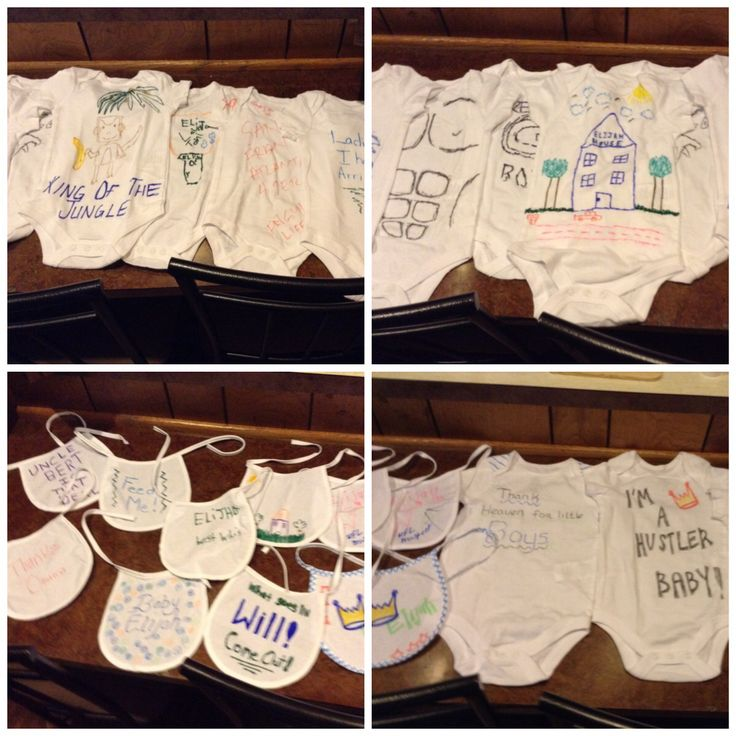 These were the bibs and onesies that all our guest made at the Baby Shower