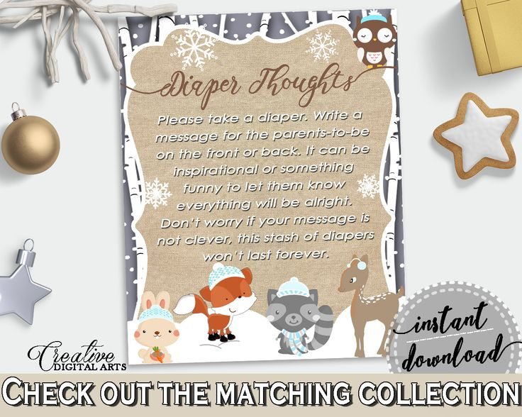Diaper Thoughts in Brown And Gray Winter Woodland Baby Shower gender neutral Theme, don't worry, woodland snow shower, party theme - RM4SN #babyshowergames #babyshower