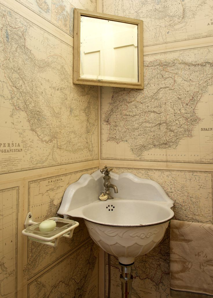 Powder Room Papered In Old Maps For The Home Pinterest