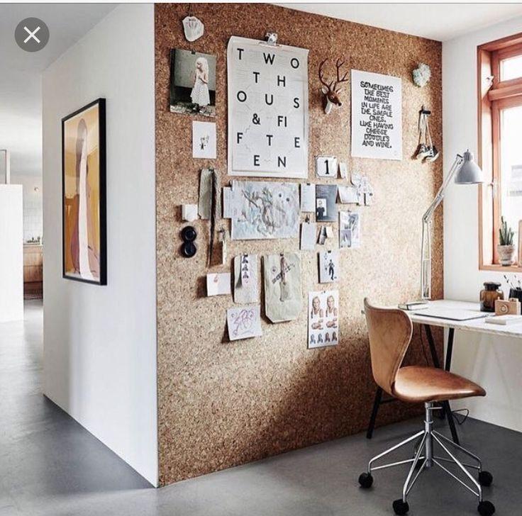 design ideas | office inspiration | corkboard wall | home office